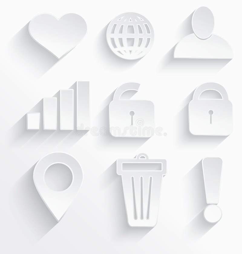 Wit Internet-pictogrammenhart stock illustratie