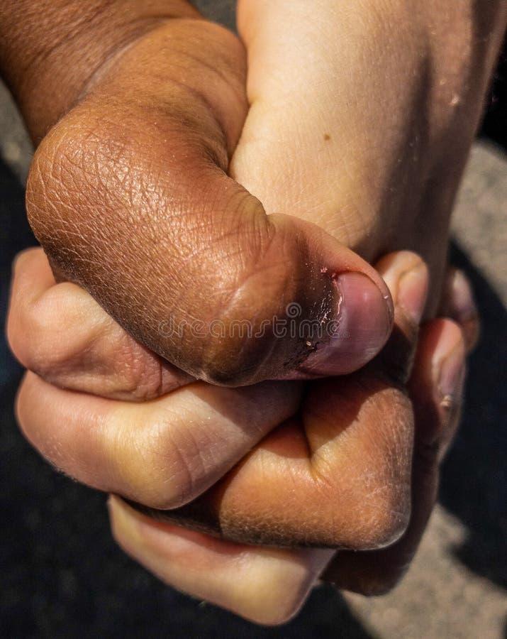 Wit jong geitje en de zwarte handen van de jong geitjeholding stock foto