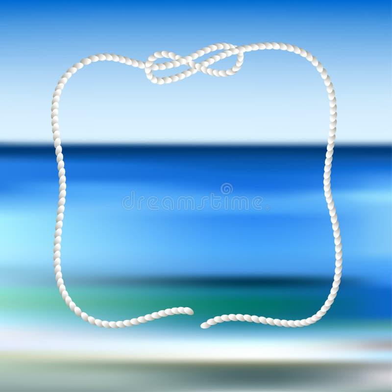 Wit kabelkader op een blauwe overzees vage achtergrond royalty-vrije illustratie