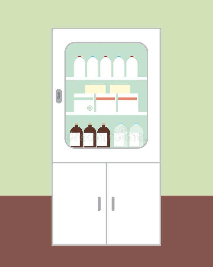 Wit kabinet voor geneesmiddelen voorgenomen voor eerste hulp met de deur stock illustratie