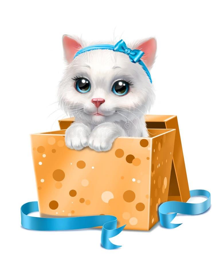 Wit katje in een gele die doos, op wit wordt geïsoleerd royalty-vrije stock fotografie