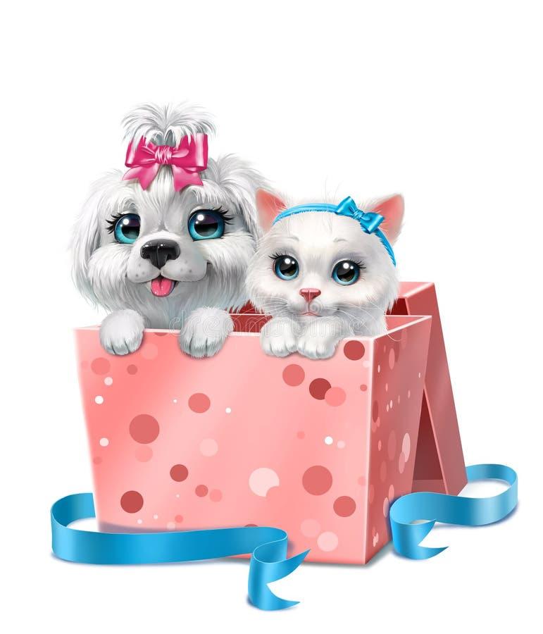 Wit katje en puppy in een roze die doos, op wit wordt geïsoleerd royalty-vrije stock foto