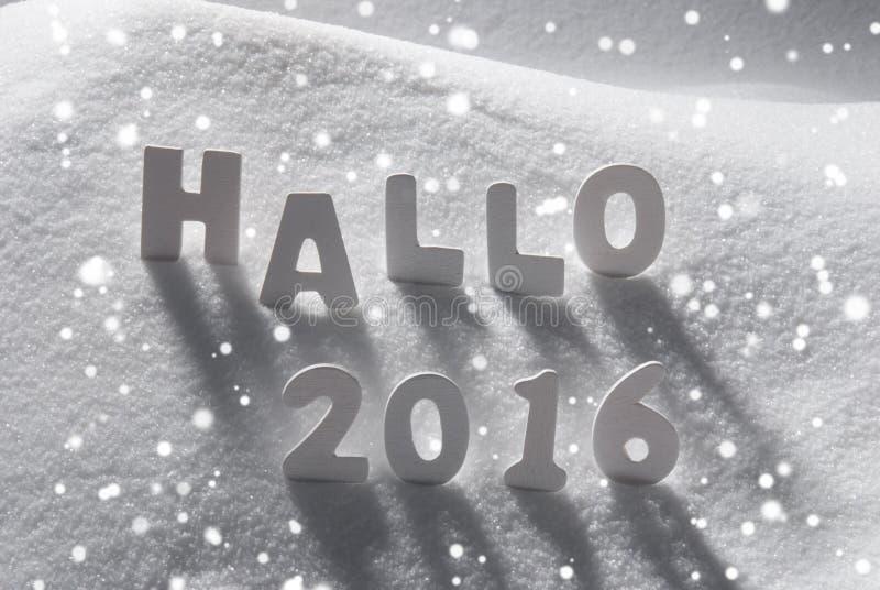 Wit Kerstmisword Hallo 2016 Middelen Hello op Sneeuw, Sneeuwvlokken royalty-vrije stock foto