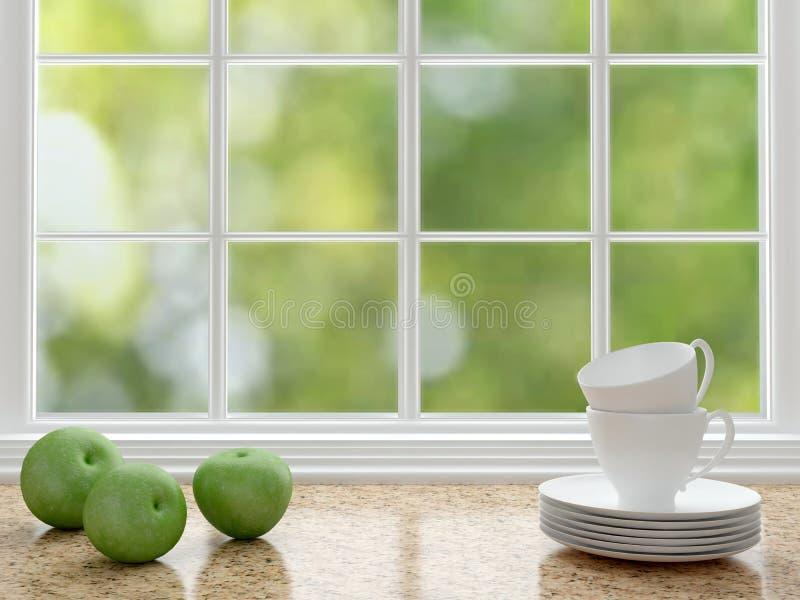 Wit keukenontwerp stock afbeelding