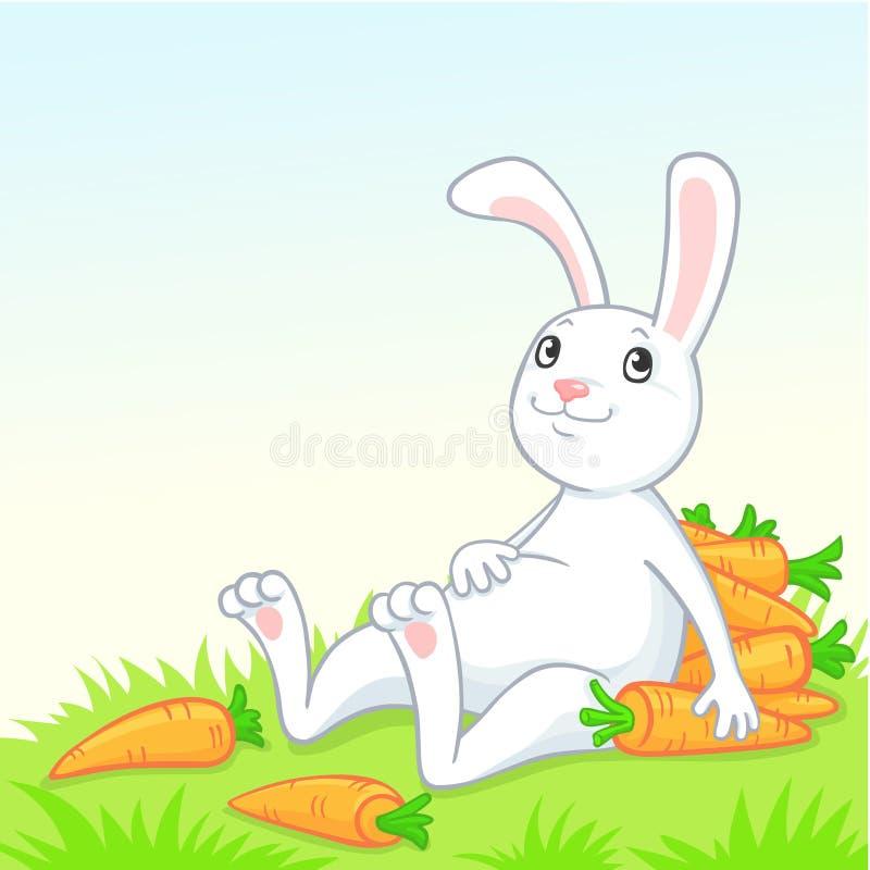 Wit konijn met wortel royalty-vrije illustratie