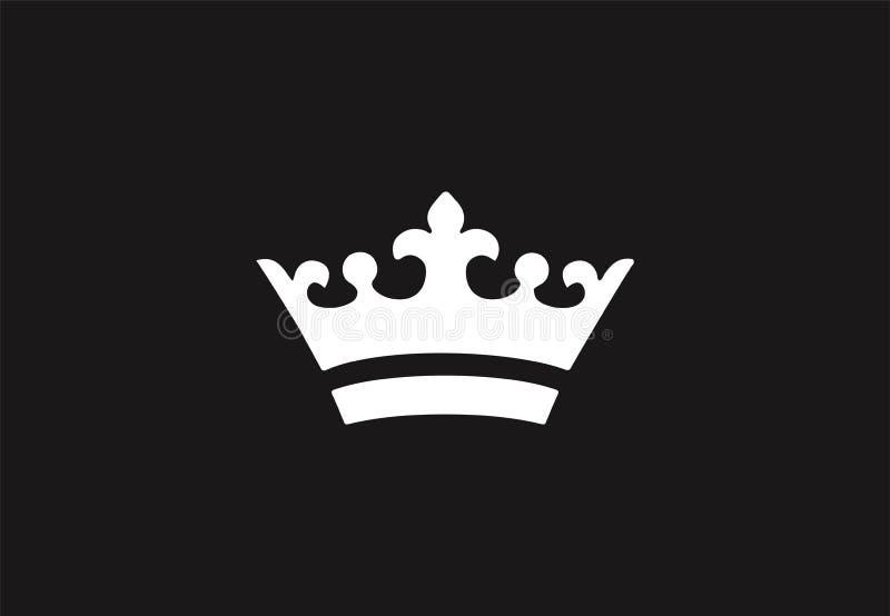 Wit koninklijk kroonpictogram op zwarte achtergrond royalty-vrije stock afbeeldingen
