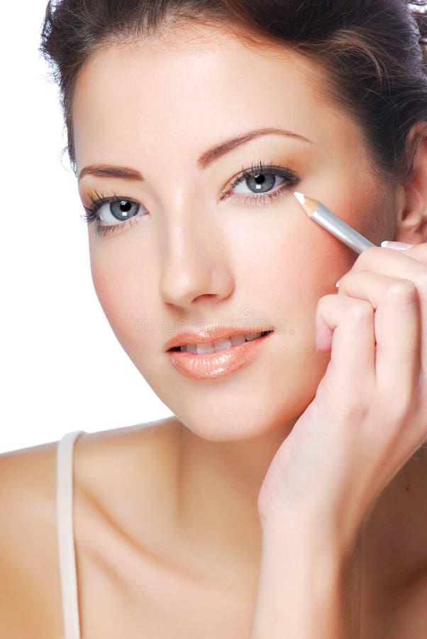 Wit kosmetisch potlood - Eyeliner royalty-vrije stock foto's