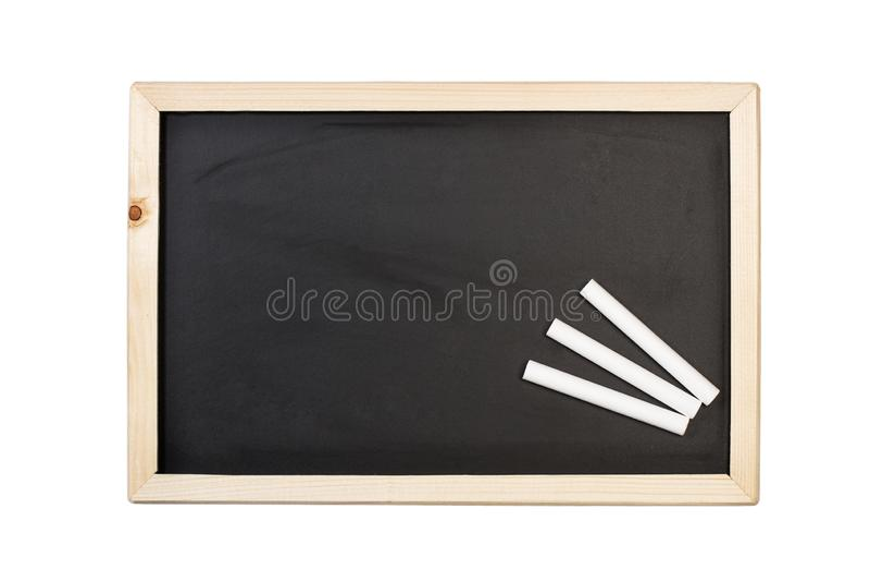 Wit krijt en een bord royalty-vrije stock afbeeldingen