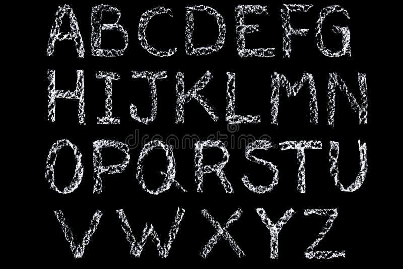 Wit krijt met de hand geschreven alfabet op bord royalty-vrije illustratie