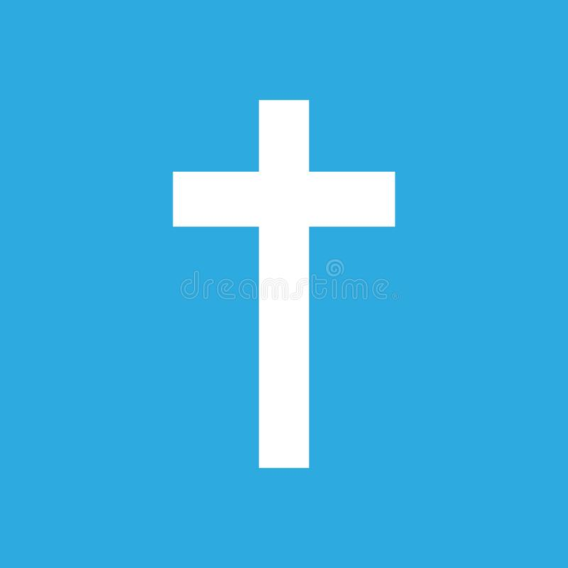 Wit kruis op een blauwe achtergrond royalty-vrije illustratie