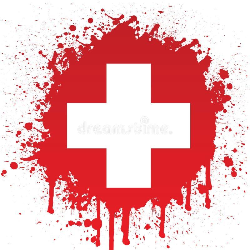 Wit Kruis in Rode Spat royalty-vrije illustratie