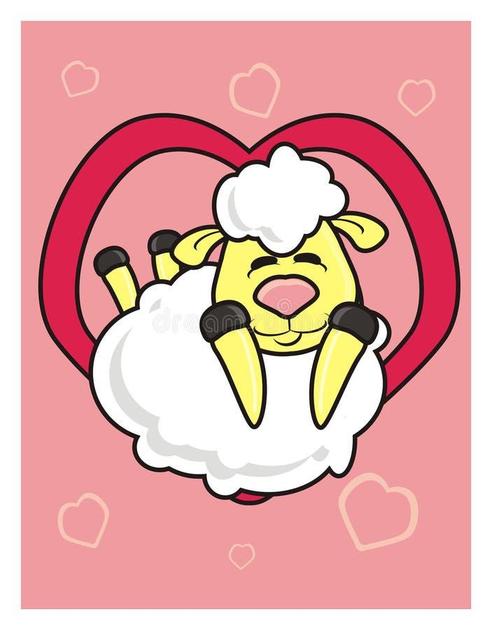 Wit lam die uit het hart gluren stock illustratie