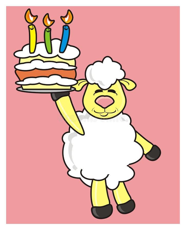 Wit lam met een cake en kaarsen royalty-vrije illustratie
