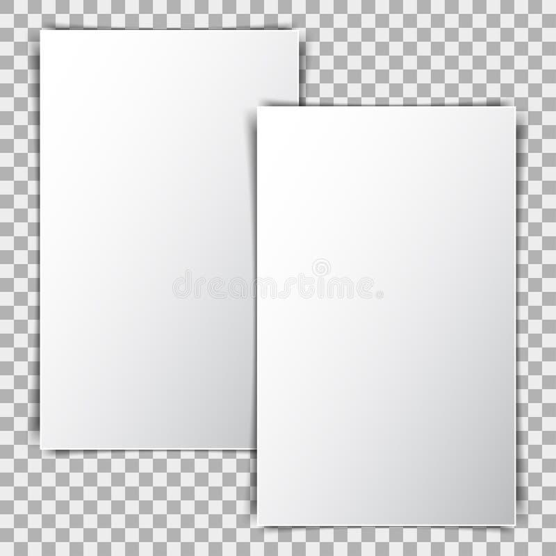 Wit leeg affichemodel, blad van document op transparante achtergrond royalty-vrije illustratie