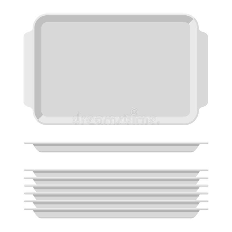 Wit leeg die voedseldienblad met handvatten wordt geplaatst Rechthoekige die keukenpresenteerbladen op witte achtergrond worden g royalty-vrije illustratie