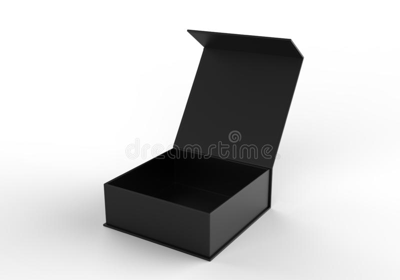 Wit leeg hard kartonvakje voor het brandmerken van presentatie en spot op malplaatje, 3d illustratie stock illustratie