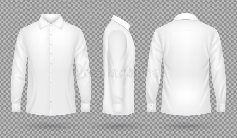 Wit leeg mannelijk overhemd met lange kokers in voor, zij, achtermeningen Realistisch vector geïsoleerd malplaatje vector illustratie