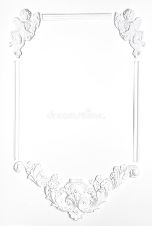 Wit Leeg oud kader van gips in de Renaissancestijl royalty-vrije stock foto