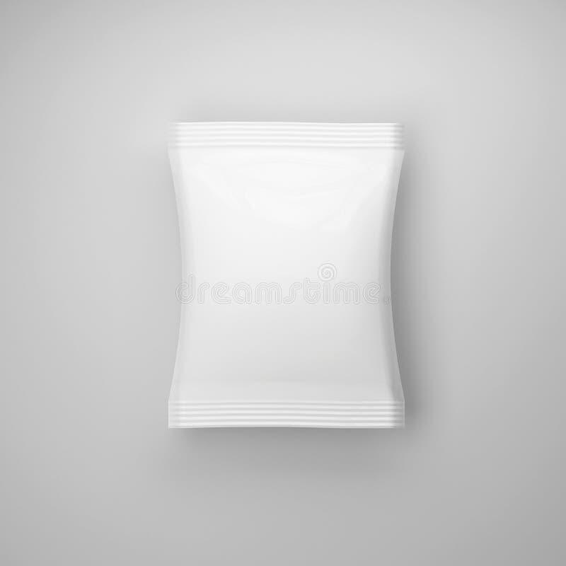 Wit leeg verpakkend model op grijze achtergrond, het 3d teruggeven, royalty-vrije illustratie