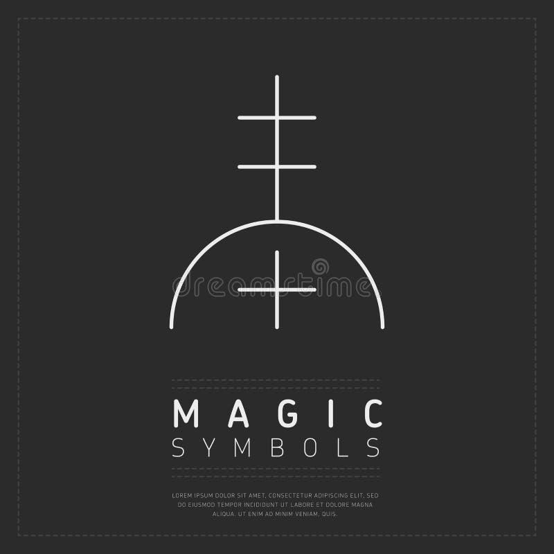 Wit lineair esoterisch symbool op grijs vector illustratie