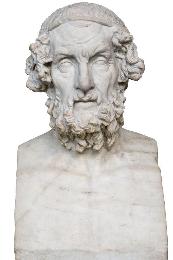 Wit marmeren standbeeld van de Griekse dichter Homerus stock afbeelding