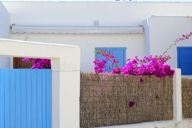 Wit mediterraan huisdetail Formentera stock afbeeldingen