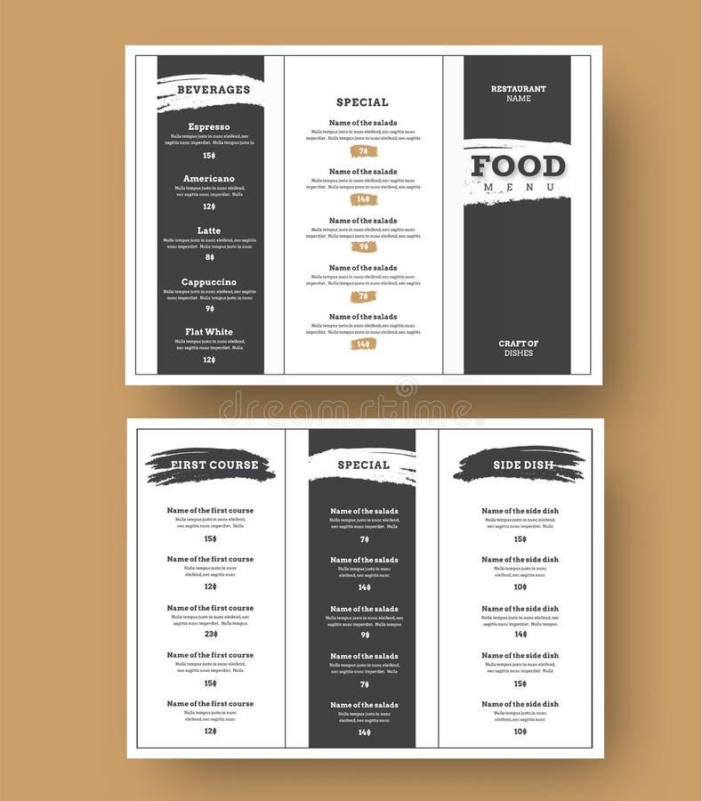 Wit menumalplaatje met zwarte grungeelementen voor koffie en restaurants royalty-vrije illustratie