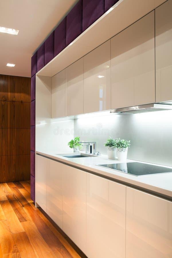 Wit meubilair binnen moderne keuken royalty-vrije stock foto's