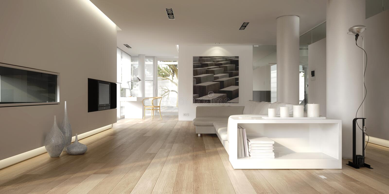 Wit minimalistisch binnenland royalty-vrije illustratie