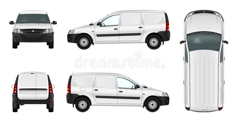 Wit minivan malplaatje Lege vectorleveringsbestelwagen stock illustratie