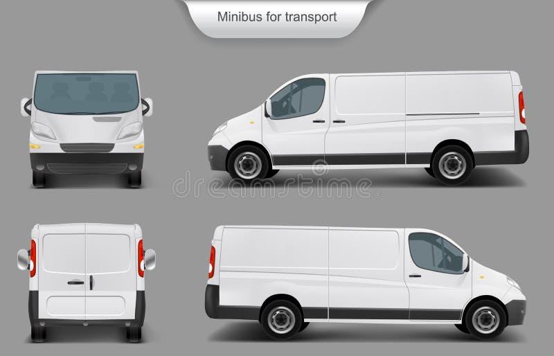 Wit minivan voor, achter, zijaanzicht royalty-vrije illustratie