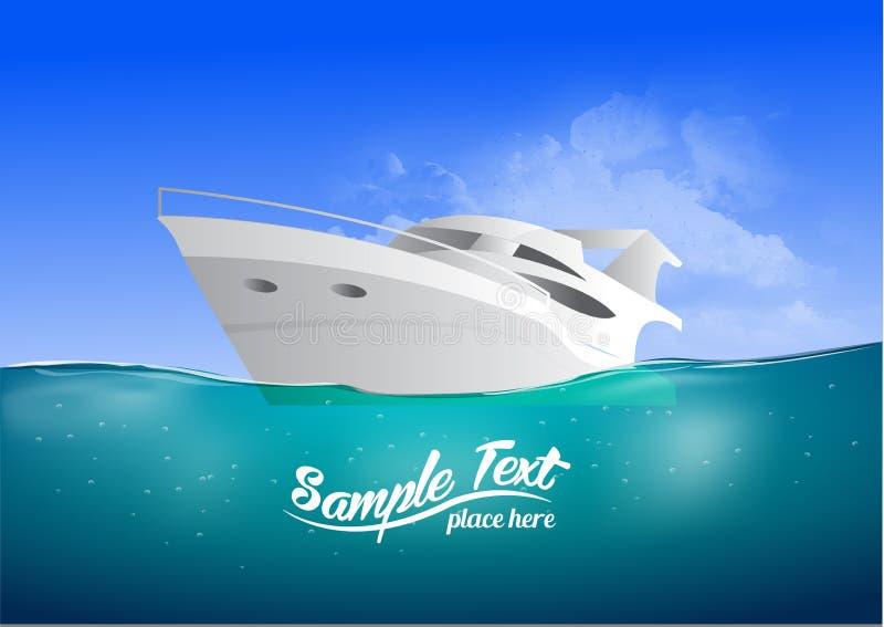 Wit modern jacht in het overzees, vectorillustratie stock illustratie