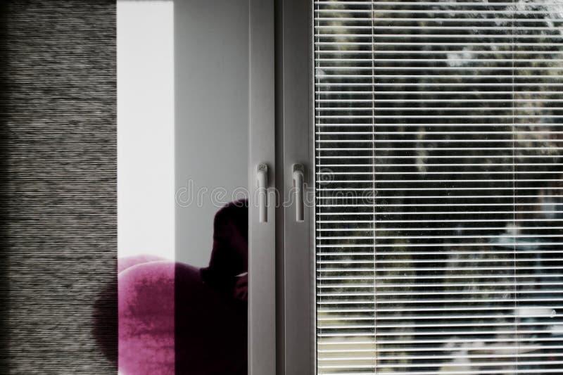 Wit modern venster en gordijn royalty-vrije stock fotografie