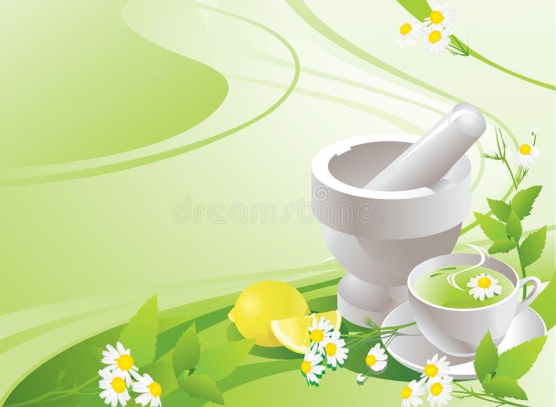 Wit mortier met stamper en kop met groene thee stock illustratie