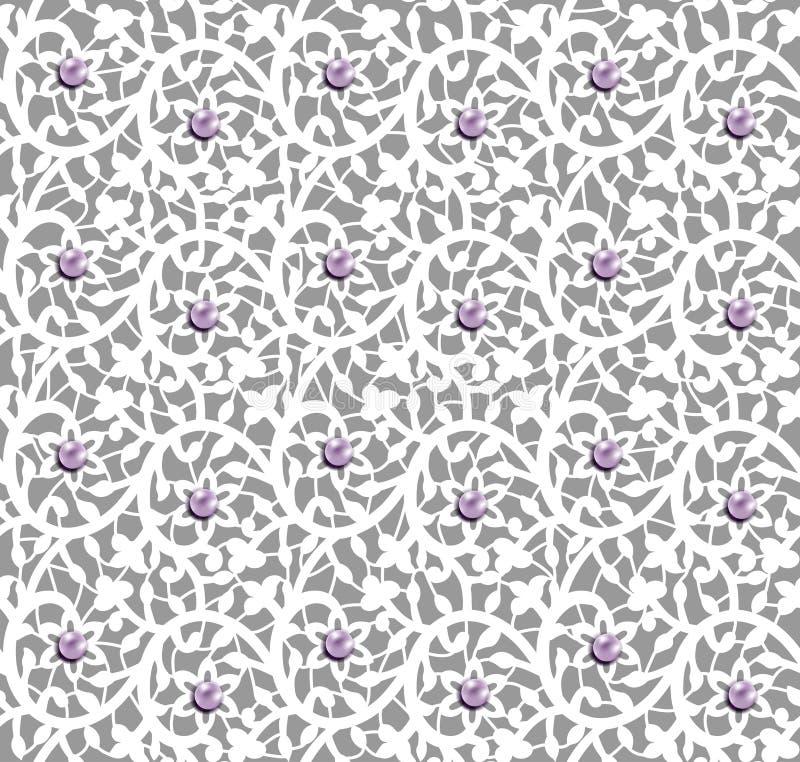 Wit naadloos bloemenpatroon met kant en parels royalty-vrije illustratie