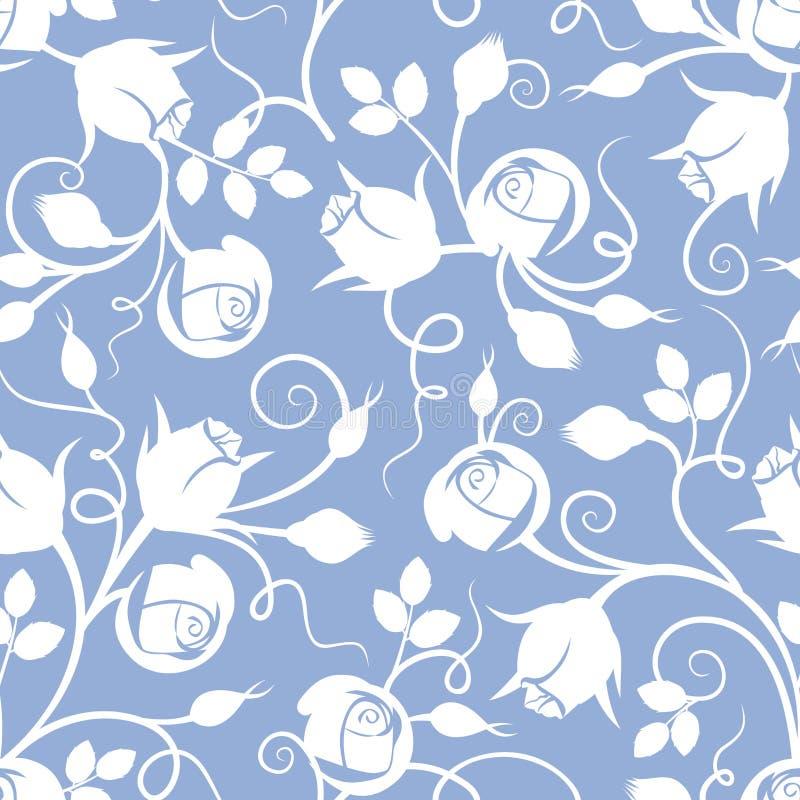 Wit naadloos bloemenpatroon met roze knoppen op blauw Vector illustratie stock illustratie