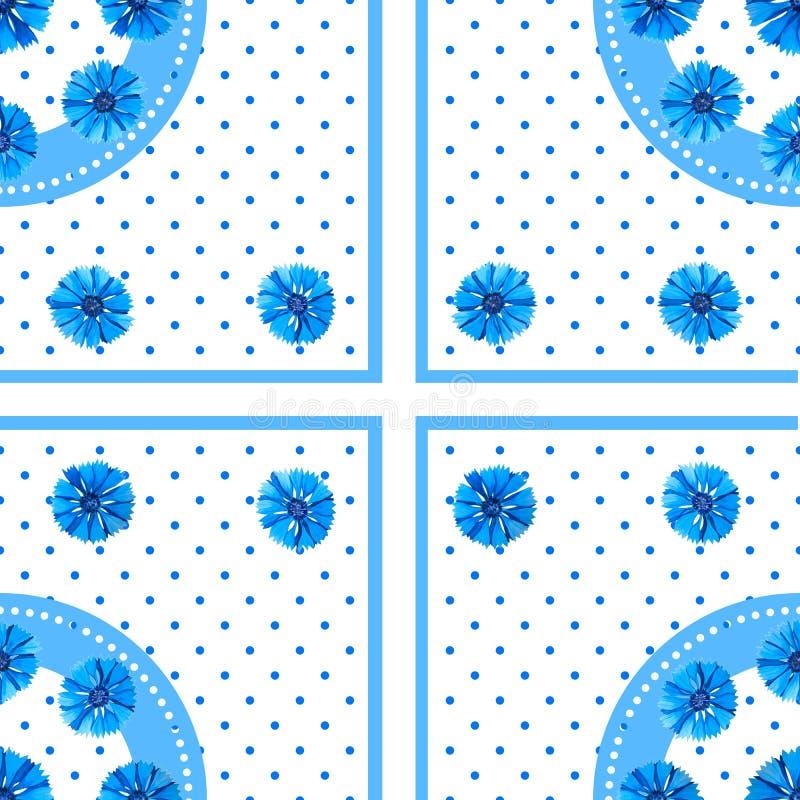 Wit naadloos patroon met blauwe bloemen Waterverfkorenbloemen, stipachtergrond stock illustratie
