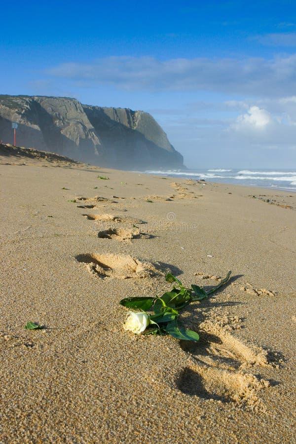 Wit nam en voetafdrukken in het zand op het strand in Portugal toe royalty-vrije stock afbeelding