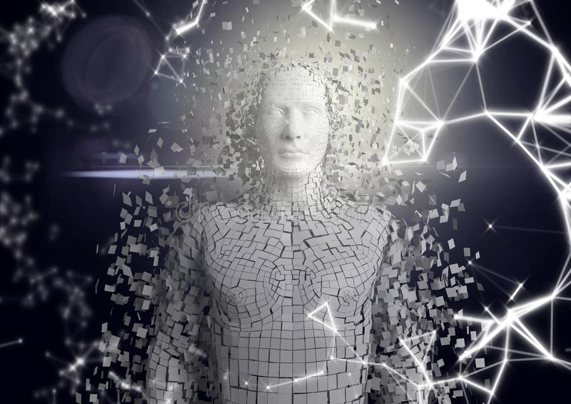 Wit netwerk en witte mannelijke AI tegen donkere achtergrond en gloed stock illustratie