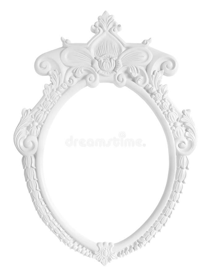 Wit Ovaal die Fotokader op witte achtergrond wordt geïsoleerd stock afbeelding