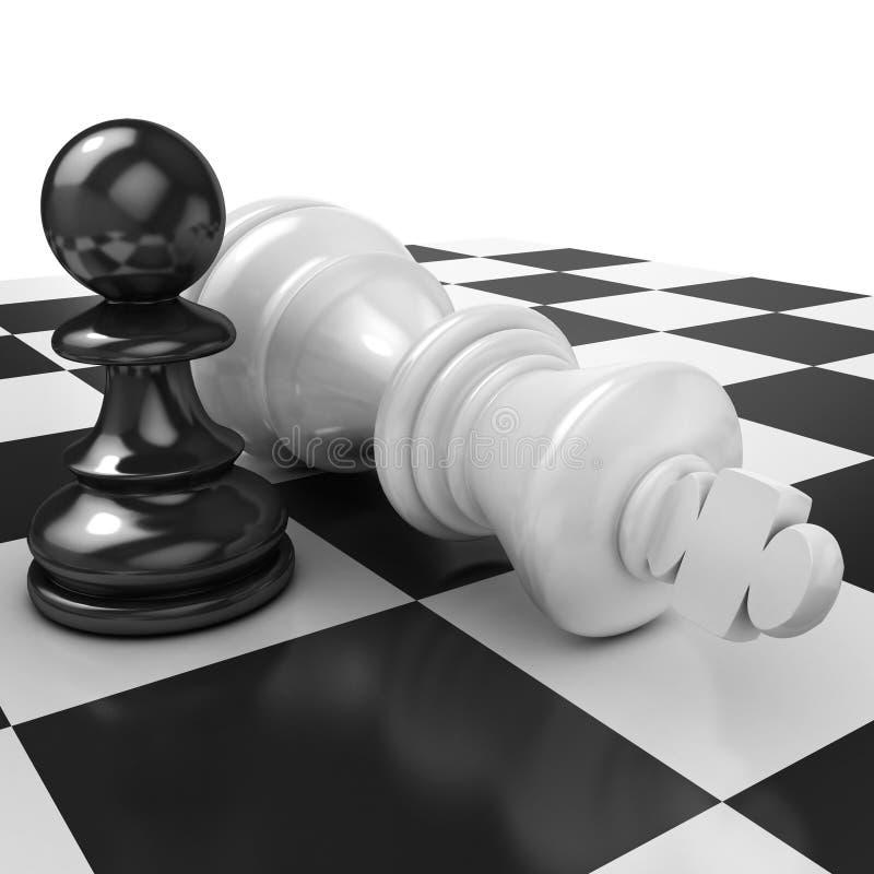 Wit pand die zich over gevallen zwarte koning bevinden vector illustratie