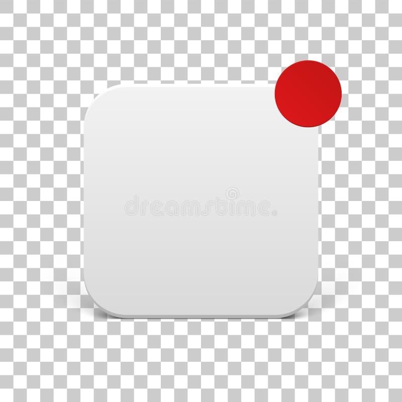Wit Pictogrammalplaatje met rode Berichtcirkel stock illustratie