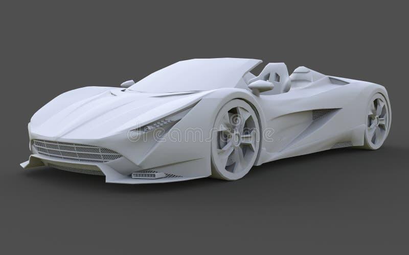 Wit plastic conceptueel model van een sportwagen convertibel op een grijze achtergrond het 3d teruggeven stock illustratie
