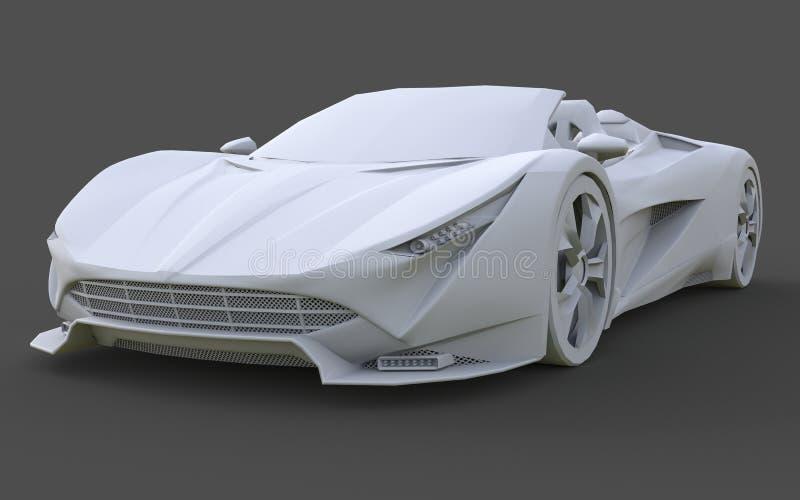 Wit plastic conceptueel model van een sportwagen convertibel op een grijze achtergrond het 3d teruggeven royalty-vrije illustratie