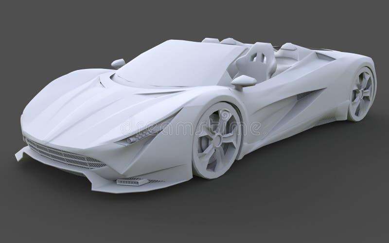 Wit plastic conceptueel model van een sportwagen convertibel op een grijze achtergrond het 3d teruggeven vector illustratie