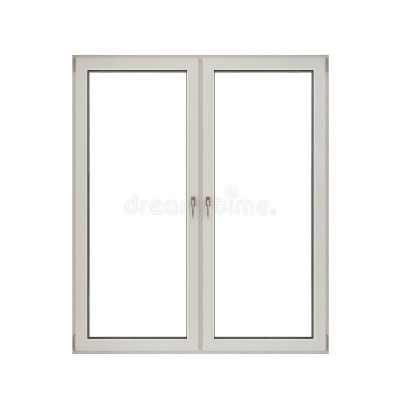 Wit plastic dubbel deurvenster dat op witte achtergrond wordt ge?soleerdr royalty-vrije illustratie