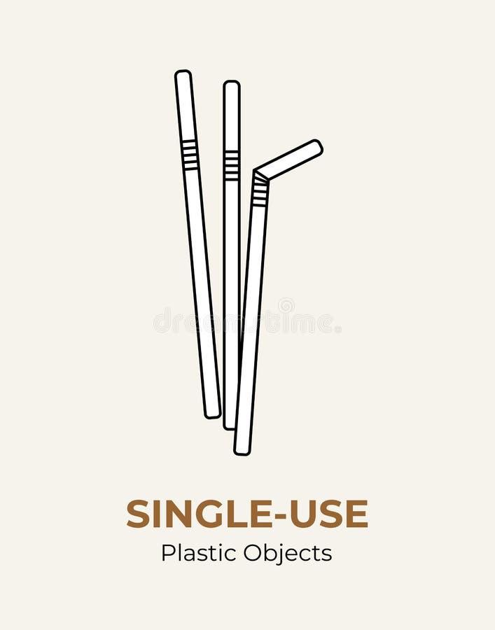 Wit plastic stro voor éénmalig gebruik Vectorillustratie die plastic punt recycleert Beschikbaar plastic stro Geïsoleerd stro vla royalty-vrije illustratie