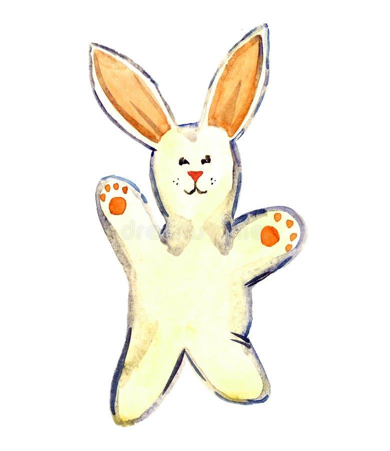 Wit pluche met de hand gemaakt konijn vector illustratie