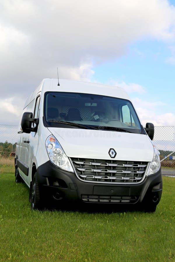 Wit Renault Master Van op Vertoning royalty-vrije stock afbeeldingen