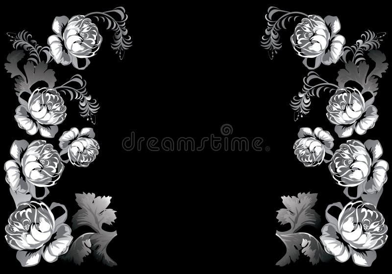 Wit rozenontwerp op zwarte stock illustratie